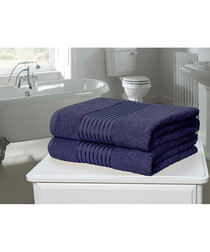 2pc denim cotton towel set