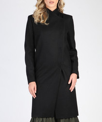 Black wool blend knee length coat