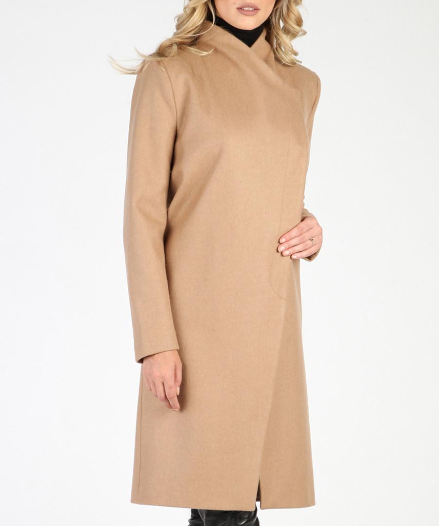 Camel wool blend knee length coat Sale - ISABEL BY ROZARANCIO