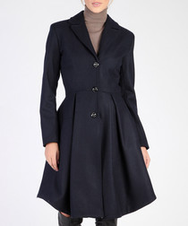 Dark blue wool blend button-up coat