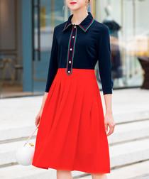 Navy & red knee-length dress