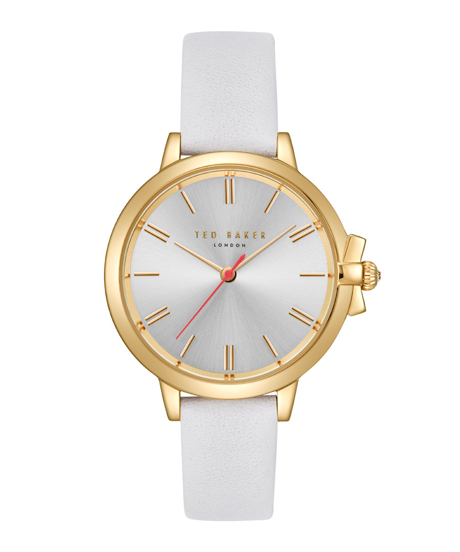 White & gold-tone leather watch Sale - ted baker