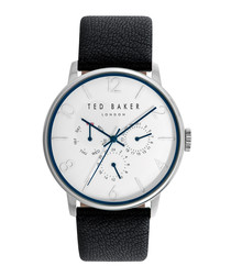 Black leather & silver-tone watch