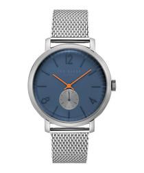 Navy & stainless steel mesh strap watch