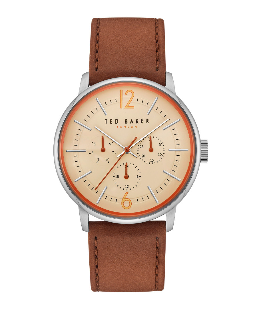 Silver-tone & brown leather strap watch Sale - ted baker