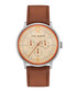 Silver-tone & brown leather strap watch Sale - ted baker Sale