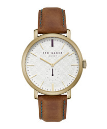 Gold-tone & brown leather strap watch