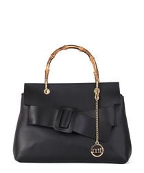 Black leather & bamboo handle bag