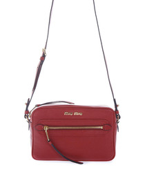 Red leather logo zip-front crossbody bag
