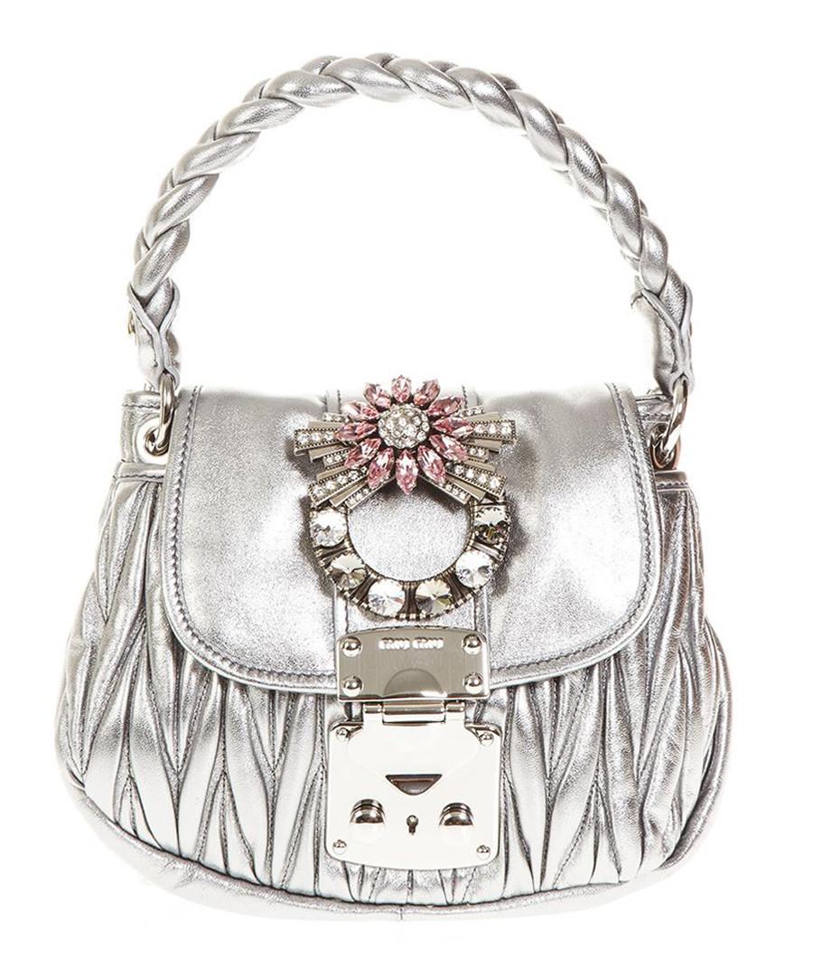 Metallic leather embellished shopper bag Sale - miu miu