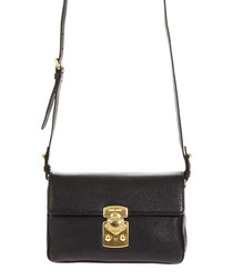 Black leather gold-tone clasp crossbody