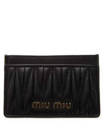 Black quilted leather logo cardholder