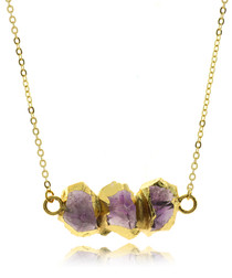 Purple amethyst gold-plated necklace