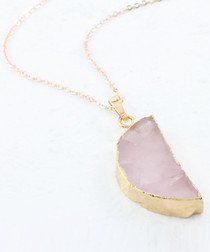 Rose quartz gold-plated semi necklace