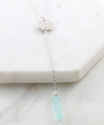 Blue & silver-tone chalcedony necklace
