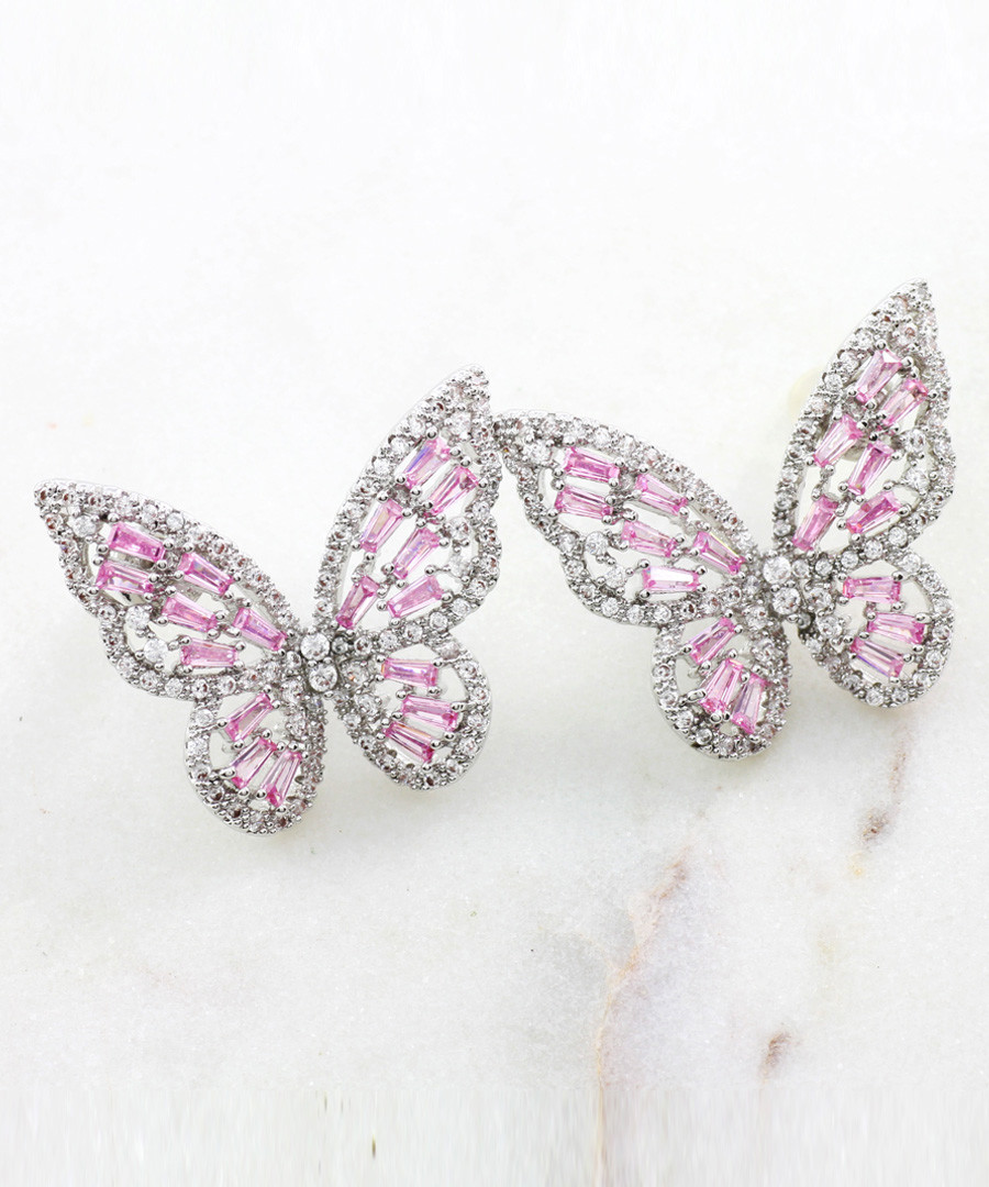 Multi-colour crystal butterfly earrings Sale - fleur envy