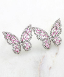 Multi-colour crystal butterfly earrings