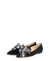 Gleam black suede bow ballet flats
