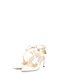 Lancer white leather stiletto heels