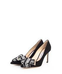 Tegan black suede bow stiletto heels