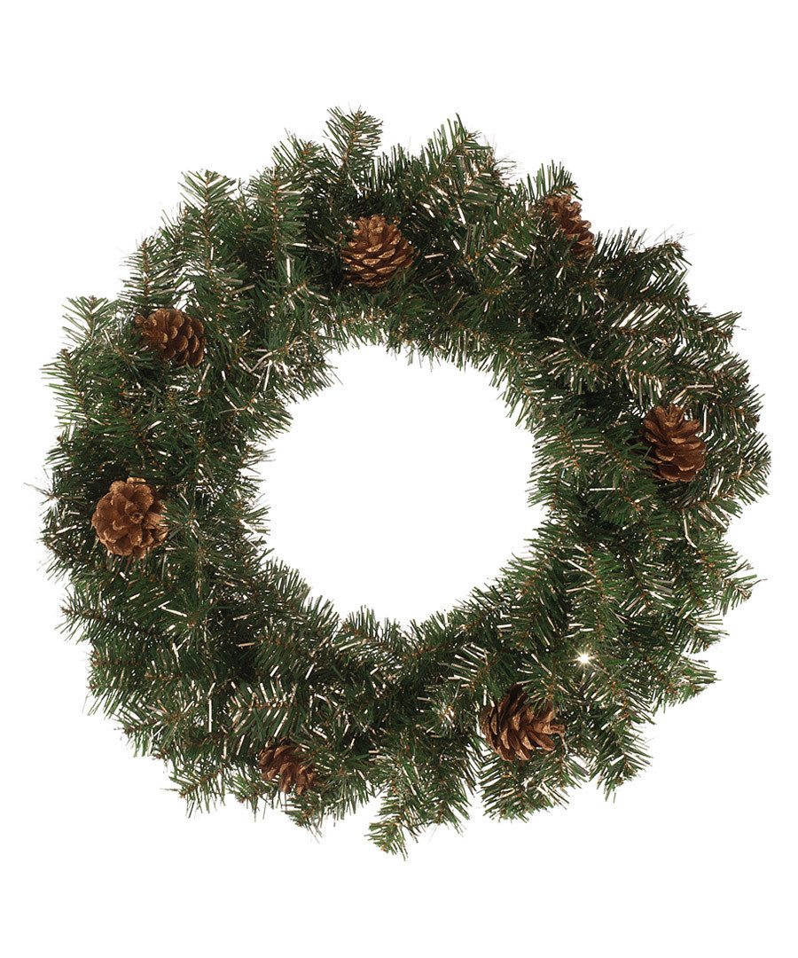 Green & champagne gold wreath 60cm Sale - Festive