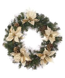 Gold poinsettia & pine cone wreath 60cm