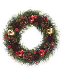 Red & gold bauble wreath 36cm