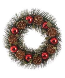 Red bauble & pine cone wreath 36cm