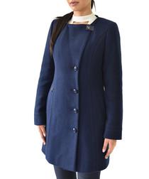 Blue wool hooded coat