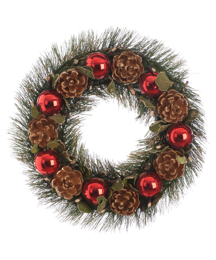 Red bauble & pine cone wreath 30cm Sale - Festive