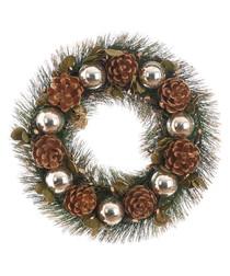 Silver bauble & pine cone wreath 30cm
