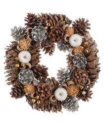 Silver & white apple wreath 30cm
