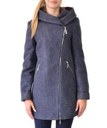 Blue wool zip-up coat
