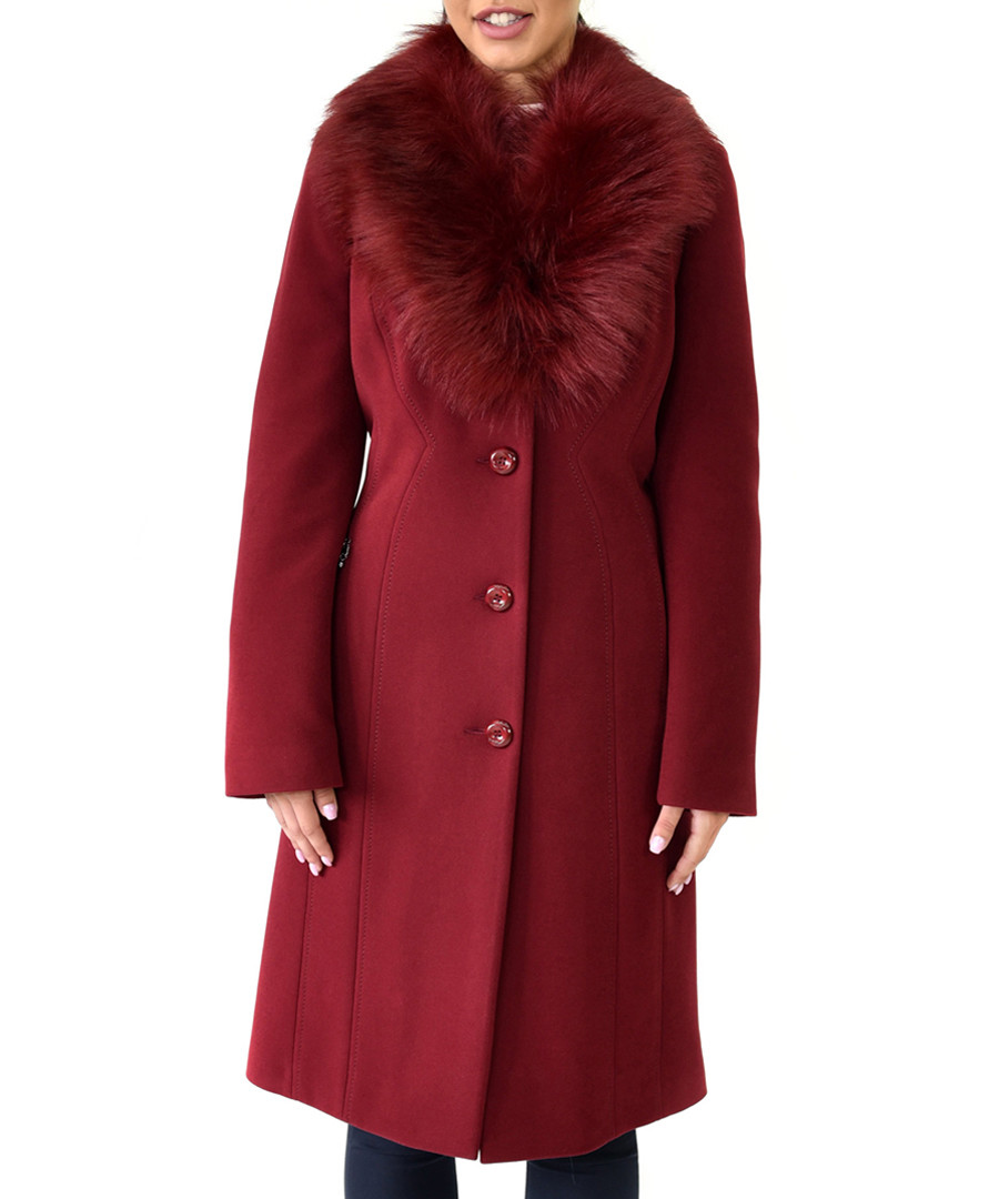 Burgundy wool long collared coat Sale - Ciriana
