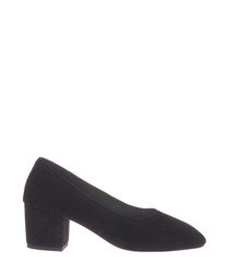 Lo black suede court heels