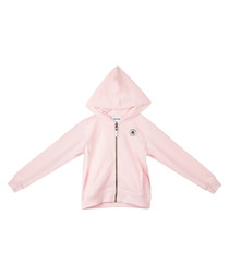 French Terry girls' pink zip-up hoodie