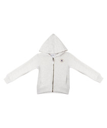 French Terry girls' grey zip-up hoodie