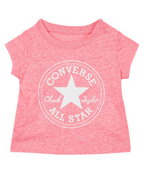Girls' pink & white print T-shirt