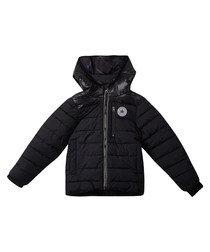 Boys' black quilted puffer jacket