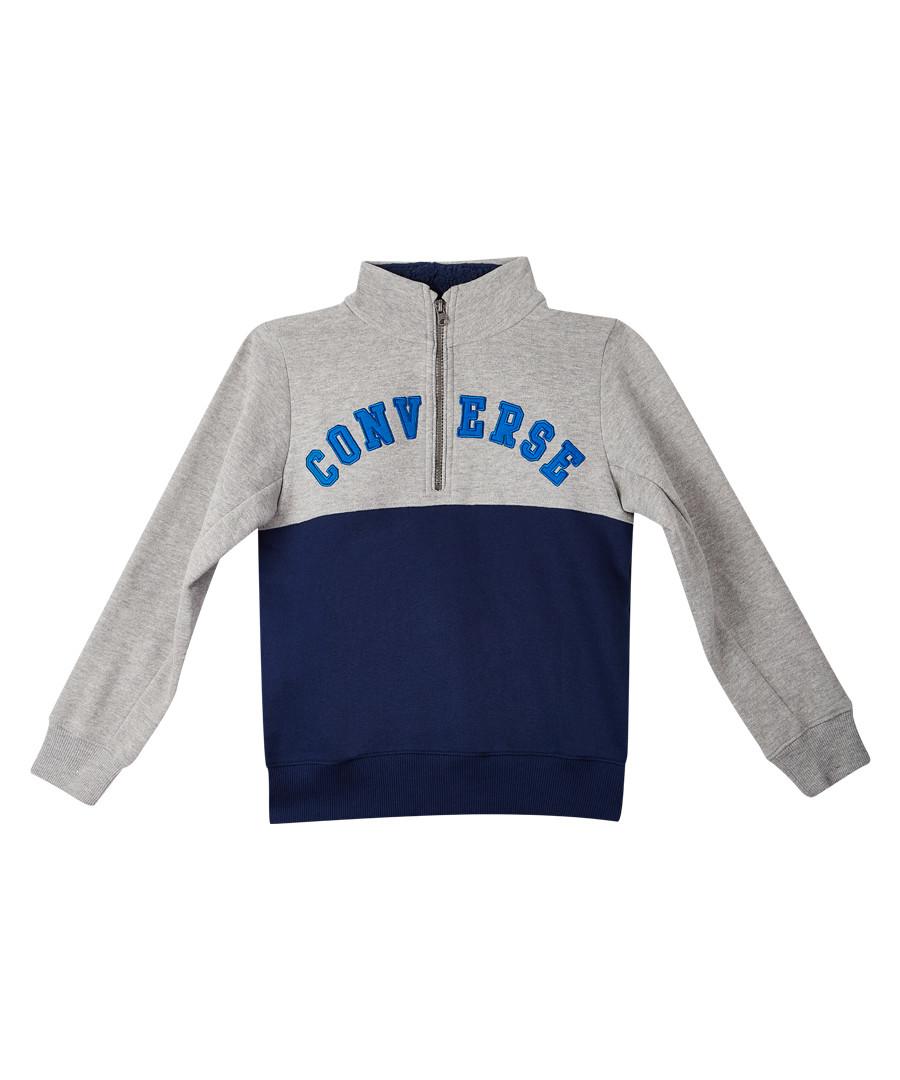 Boys' grey contrast half zip-up hoodie Sale - Converse