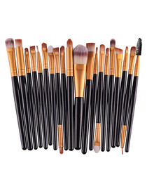 20pc Black makeup brush set