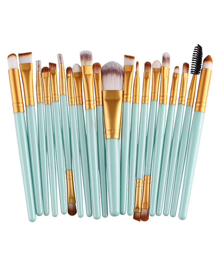 20pc Turquoise makeup brush set Sale - dynergy