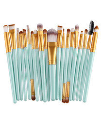 20pc Turquoise makeup brush set