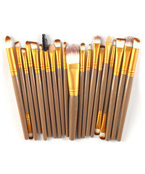 20pc Gold-tone makeup brush set