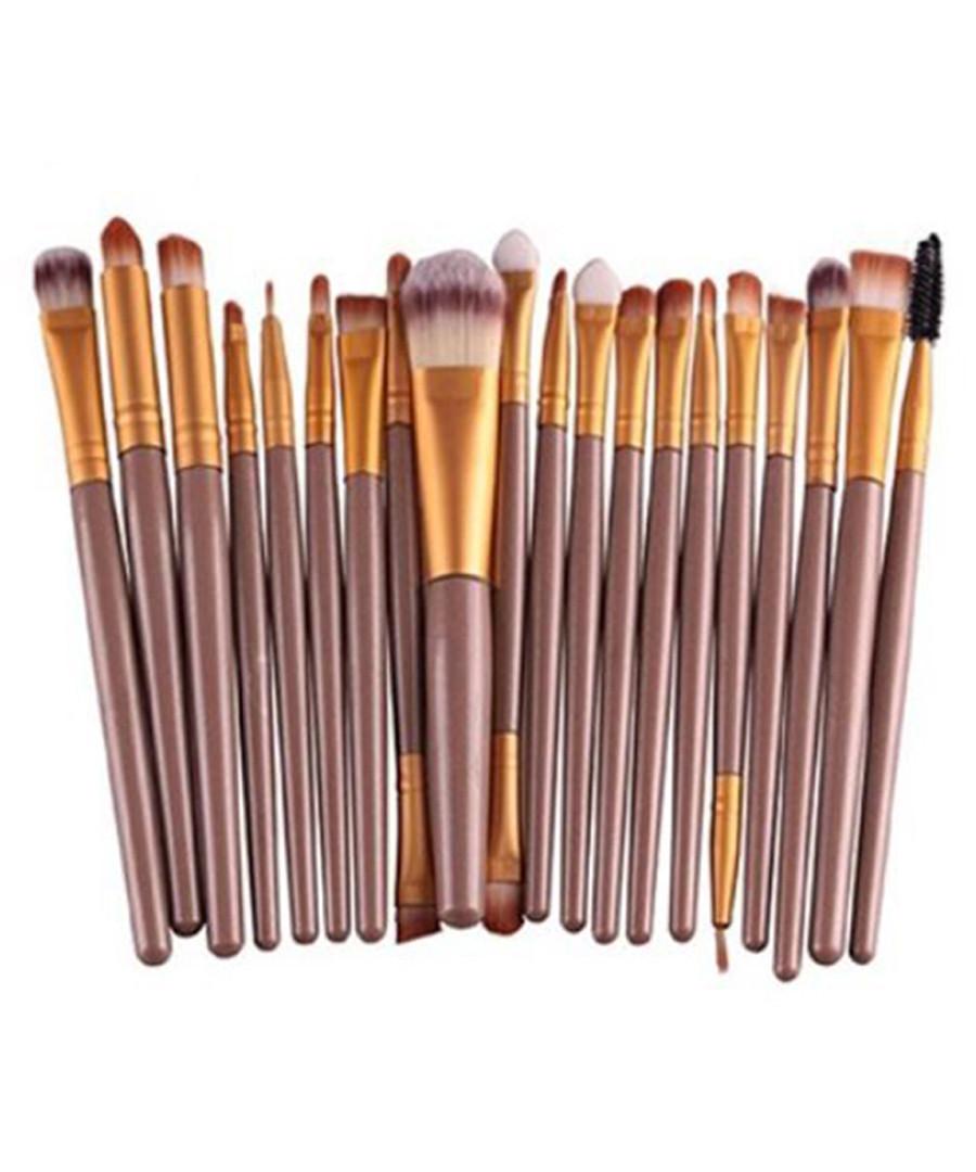 20pc Bronze-tone makeup brush set Sale - dynergy