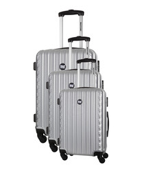 3pc Sweety silver spinner suitcase nest