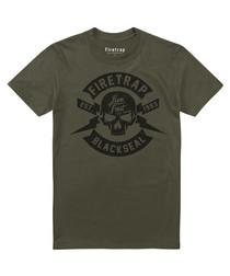 Khaki cotton skull print T-shirt