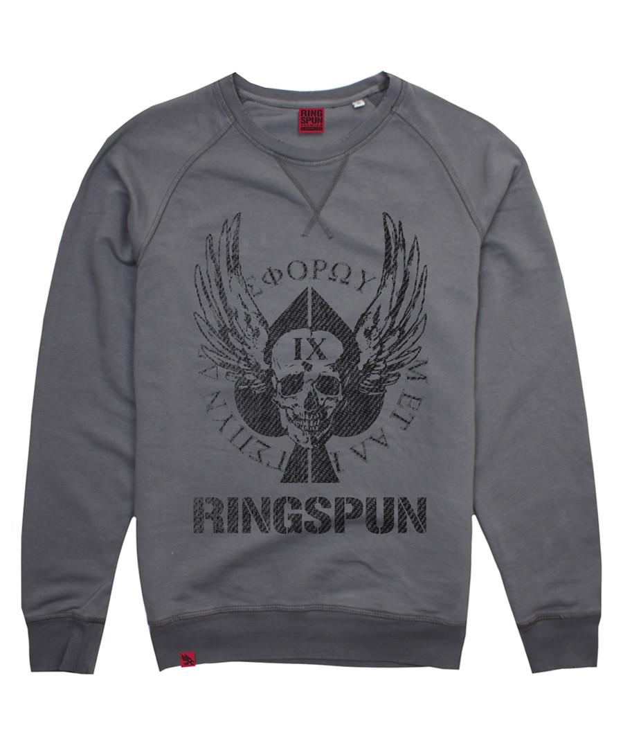 Dyed grey cotton spades print jumper Sale - ringsprun