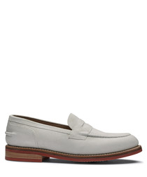 Men's white leather loafers
