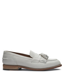 Men's white leather tassel loafers